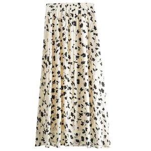 Bella philosophie femmes Printemps Eté ligne A Jupe dame imprimé floral taille haute Slim Fit Polyvalent femme élégante