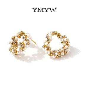 YMYW Exquisite rotonda Hollow orecchini personalizzati perle imitazione strass gioielli orecchini geometrica della moda di New