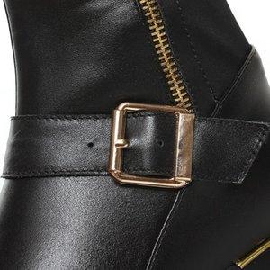MORAZORA 2019 Yeni hakiki deri çizme fermuar diz yüksek çizmeler sonbahar kış Termo büzülme kadın botları moda ayakkabılar kadın tokası