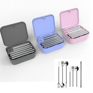 Cep Ölçekli Yeniden kullanılabilir katlanabilir Çatal Seyahat Piknik Katlanır Paslanmaz Çelik Çatal Seti Kaşık Çatal bıçak Katlanabilir TABLEWARE 10pcs T1I1742