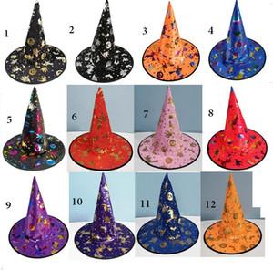 Sıcak çocuklar cadılar bayramı kafatası cadı şapka renkli siyah kabaklar sihirbazı büyücü kap parti cosplay kostümleri dekorasyon i ...