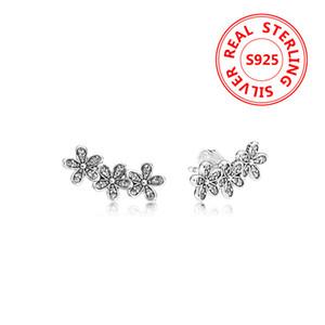 anello di orecchio frizzante Daisy Orecchino per Pandora 925 sterlina delle donne fiori gioielli Orecchini con cofanetto originale