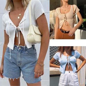 Mujeres camiseta del verano Cardigan de punto acanalado superior atractivo de moda sólido de manga corta con cordones de cultivos tapas delgadas simple suave Mujer Ropa