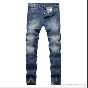 Blue Light lungo rettilineo Uomo Jeans Mid vita regolare Lavato con Cerniera Mens Jeans Uomo Abbigliamento