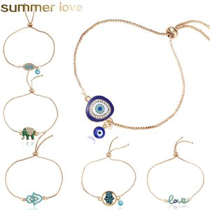 Новая мода Сердце Синий Сглаз Браслеты Good Лаки Хамса рука Elephant Love Letter Chain Регулируемый браслет для женщин ювелирные изделия