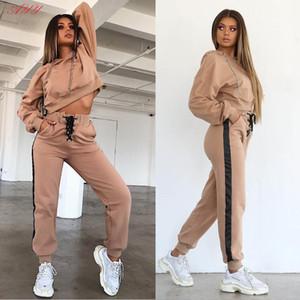 Inverno di autunno delle donne Hoodie casual Felpa Bandage Jumper Sportwearr Pullover Top pantaloni lunghi due pezzi Sets New Fashion