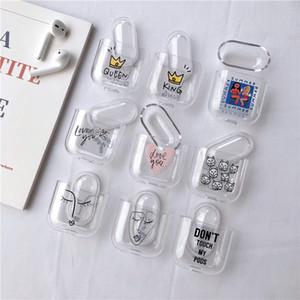 Accesorios de pintura de moda estuche para Airpods 1 2 Clear Bluetooth Headset Auricular Estuche Duro Transparente blanco Cubierta de la bolsa de piel