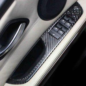 Accessoires Auto Pour BMW E90 F30 LHD 2005-2019 3 séries de voitures en fibre de carbone Décoration Fenêtre Interrupteur de porte Couverture Trims 4 pièces / Set