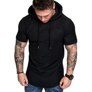 2020 New Men Hoodies Sweatshirt Short Sleeve Men Casual Solid Color Hooded man hoody For male