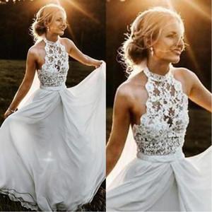 2020 Cheap Bohemian A-line Chiffon Beach Wedding Dress Halter Illusion Backless Wedding Gown Rustic Bridal Dress robe de marriage