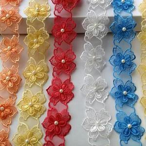 15362 Жемчужный цветок растворимая органза кружевная отделка вязание свадьба вышитые DIY ручной работы Лоскутная Лента швейные принадлежности ремесло