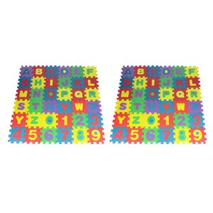 72 Tiles Colorful Alphabets And Numbers EVA Square Foam Puzzle Crawling Mat For Baby