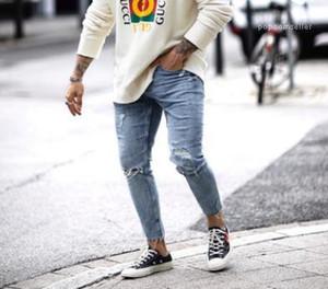 Blue Slim Fit Trousers Pants Mens Summer 19ss Jeans Spring New Nineth Length Denim