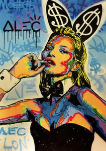 Pintura Alec Monopoly óleo sobre tela Graffiti Art Kate Moss Coelho Home Decor pintado à mão HD Imprimir Wall Art Canvas Pictures 191027