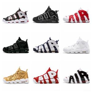 Nike Air More Uptempo 2018 Air More Uptempo Zapatillas de baloncesto para hombre Sup Designer Men Scottie Pippen PE Triple White Gold Zapatillas deportivas deportivas Chausseures