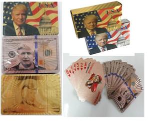 4 styles Donald Trump 24K Cartes à jouer Jeu de poker plate-forme feuille d'or Poker Set Carte plastique cartes imperméable facture de billets d'atout magique