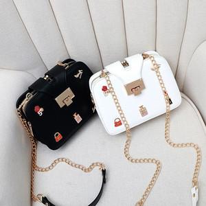 New chain metal lock women designer shoulder crossbody messenger bags lady fashion casual evening purses black pink white color no1736