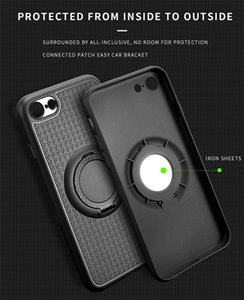 Magnetic PU Case For iphone 6 6s 6sPlus 7 Plus 5 5S Car Mount Holder Foldable Kickstand Finger Ring Phone Case 360 Cover