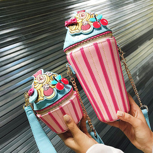 도매 여행 짐 가방 체인 크로스 바디 백 라운드 가방 패션 성격 만화 지퍼 스레드 패치 워크 색상 무료 배송