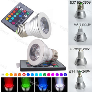Ampoules LED 3W RGB Spotlights 16 Couleur Multicolore E27 GU10 MR16 avec 24 clés Télécommande Aluminium pour Noël Halloween Home Party Eub