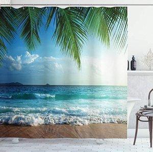 Palms Ocean Tropical Island Beach Duş Kancalar 3D Kız Erkek Hediye ile su geçirmez Banyo Dekor Perdeler