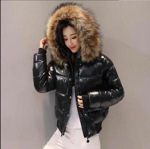 Dugujunyi 2019New Black Fashion glänzende Jacke Winter-Frauen wasserdichte Parkas weiblich warmen Wintermantel mit Kapuze Frauen Oberbekleidung