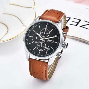 크로노 그래프 BOSS 팔찌 경주 남성 석영 럭셔리 독일 남성 다기능 가죽 벨트 로얄 오크 손목 시계 시계 시계