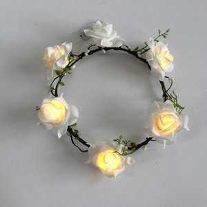 6Led White Flower Crown White Flower Headbard Flower Wreath Wedding Hair Accessories