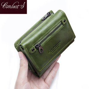Contact's Genuine Leather Women Wallets 2019 New Design Fashion Female Purse Trifold Zipper Cash Photo Holder Wallet For Woman Y19062003