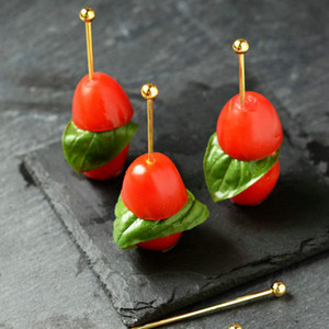 2000PCS Horquillas de fruta de acero inoxidable Decoración de cóctel Horquilla de oliva Chapado en color Aguja de fruta de titanio Barra de cocina Herramientas