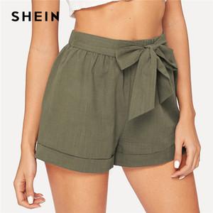 SHEIN Self Belted Elastic Waist Shorts Fitness Swish Women Army Green Solid Mid Waist Shorts 2019 Fashion Summer Shorts Y200512