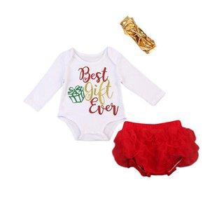 Emmababy calientes de los bebés recién nacidos Tops Body Una Pieza para bebé Tutu pantalones diadema 3pcs que la ropa 0-24 M Trajes de Navidad