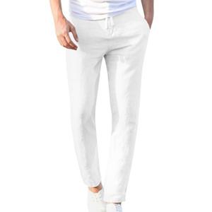 Feitong Moda Pamuk Keten Pantolon Erkekler Rasgele Çalışma Katı Beyaz Elastik Bel Streetwear Uzun Pantolon Pantolon