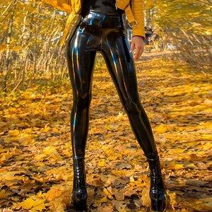 Sexy PU Lackleder Hosen glänzenden Leder-Bleistift-Hosen Frauen Black Latex Mädchen dünne dünne Hosen weiblich weich warmes Legging