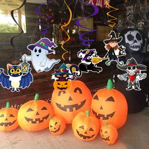 6pcs / set PVC Halloween Decoração Pingente partido espiral Pendant Halloween Haunted House Hanging Bats Garland Pendant Pumpkins
