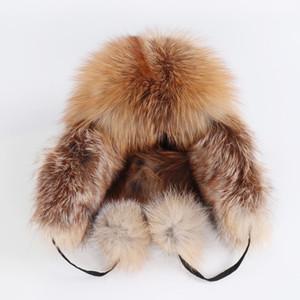 Na Venda 100% Verdadeira Pele De Raposa das Mulheres Russa Ushanka Aviador Trapper Chapéus De Esqui De Neve Caps Earflap Inverno Senhoras Fox Fur Chapéu Bomber