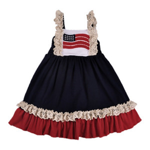Kids Stars Abiti a righe Baby Girl Sling Princess Dress Bandiera americana Independence National Day USA 4 luglio Gonna di maglia ricamata