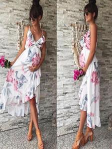 ARLONEET Summer women elegant dress Fashion Womens Mother Casual Floral Falbala Pregnant Dress For Maternity dresses