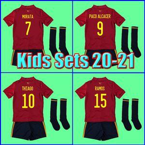 Thailand Spain jerseys KIDS Spain soccer jerseys 2020 2021 football Kits uniform kids MORATA RAMOS SARABIA THIAGO INIESTA with socks