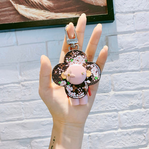 Llavero rosado del astronauta de lujo del cuero del diseñador del robot Steeless acero anillo dominante del coche bolsa de llavero para las mujeres accesorios de la joyería regalo