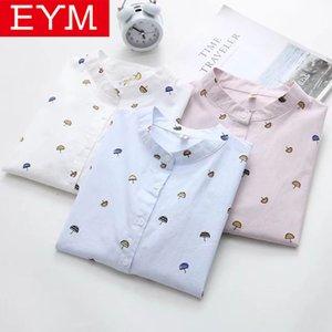 2019 Nova Primavera Casual impressão da camisa das senhoras blusas de algodão camisa de manga longa EYM Marca Blusa Mulheres estilo simples Senhora Tops Blusas