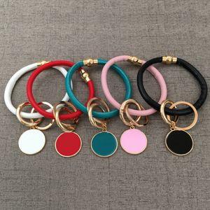 Chunky Magnétique Snap Monogrammé Blanc Wristlet Keychain Personnalisé 25 MM Disque Divers Couleurs PU Bracelet En Cuir Bracelet Porte-clés