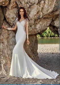 2020 Nouveau col V robe en mousseline de soie Applique de mariage 100% vraie image vintage sirène Vestidos de Noiva