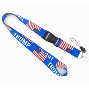 Trump Lanyard Telefone Keychain Cordas Straps ID Card pingentes cordão da bandeira dos EUA removível Cell Phone Straps Encantos XD22938