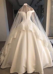 오프 어깨 짧은 소매 공 가운 웨딩 드레스 지퍼 백 새틴 2020 정식 신부 가운 사용자 정의 Vestidos 드 결혼 간단한 정원