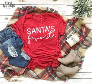 Santas Favorite T Shirt Funny Slogan Women Fashion V Neck Hipster Christmas Party Style Tumblr Casual Tumblr Shirt Red Tees J957