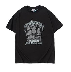 Mens camisetas High Street VTM VETEMENTS 2020 T-shirt Navio de impressão New pirata de manga curta soltas roupa ocasional
