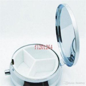 50pcs / lot Fedex DHL frete grátis alta qualidade do metal Pill Box DIY Medicine Box Organizer recipiente de prata pequeno Round 3 Grids 0720ayq