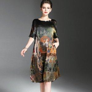 Vintage Étnico Design Da Pintura das Mulheres de Verão Meia Concha Roupas de Seda Macia Mulher Elegante Da Marca Vestidos O-Approach Plus Size Y19071001