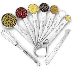 6 unids / set cucharas de medición de acero inoxidable tazas medidoras Cuchara para hornear Utensilio Cuchara de cocina Escala Kit de herramientas de medición